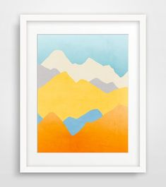 Summery fine art print of abstract mountain landscape. Cheerful and colorful it will brighten any space in your home or office.    Get this print in a