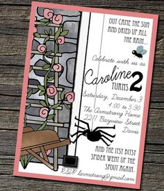Pack of 25 Itsy Bitsy Spider Invitations with by theblueeggevents, $48.00