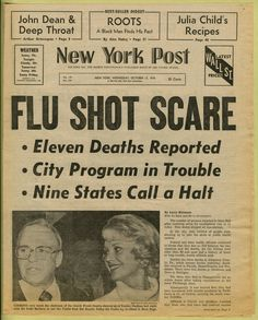 newspaper headline ('flu shot scare,' new york post. october 13, 1976) - the new york post, october 25, 1976) - newspaper clipping from the warhol archives, 1976 [link to 'warhol: headines' exhibition + archives, http://www.warhol.org/exhibitions/2012/headlines/archives.php]
