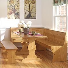 This is a great looking honey-finished all-wood breakfast nook that won't empty your wallet (L-shaped bench priced under $400).