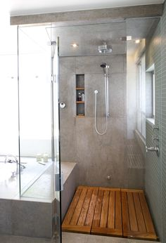 gray bathroom, wood shower floor, separate bathtub