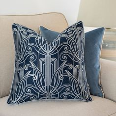 Nouveau cushion cover, Navy blue pillow case, Square cushion cover, Piped cushion cover, Ornament pattern, Decorative cover pillow, 45x45cm Navy Blue Cushions, Blue Pillow Cases, Ornament Pattern, Art Nouveau Pattern, Pipe Decor, Creativity And Innovation, Decorative Cushions, Betta, Navajo