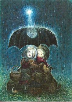 2057L- ORIGINAL FERRÁNDIZ - EDICIONES SUBI - SERIE A.1907.2 - DATA 1979 DIPTICA 10X14CM - Foto 1 Vintage Christmas Cards, Vintage Cards, Christmas Illustration, Illustration Art, Thomas Kinkade, Rainy Day Pictures, Rain Art, Good Night Moon, Sweet Pic