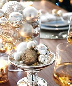 Shiny ornaments in various sized bowls, vases, etc. Such an easy table runner substitute! #holidayentertaining