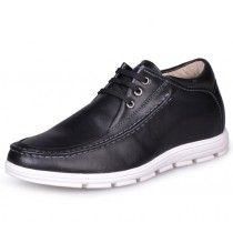 Black casual height increasing shoes for men be taller 6cm / 2.36inches