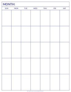 Printable Blank Calendar Template …   Pinteres…