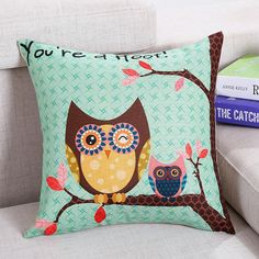 100% Linen Pillow Case Cover Bed Decorative Pillows Cover Printed Cartoon Owl Throw Pillow Covers Home Soft Pillow Case 40x40cm