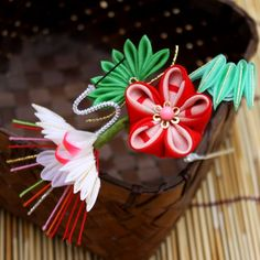 Shou-Chiku-Bai (Pine Bamboo Plum Blossom with Crane) New Year's Kanzashi