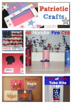 Patriotic Crafts - Perfect for Memorial Day, 4th of July, Veteran's Day, Election Day. These crafts can be completed by preschoolers and up