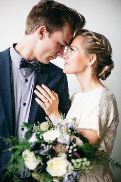 Hair, flowers, him, her.