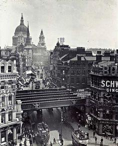Ludgate Hill, c. 1920 Old London photos) Victorian London, Vintage London, Old London, 1920 London, Victorian Era, City Of London, London Street, London Bus, Blitz London
