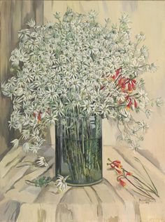 Margaret Preston what a great Australian artist. I love flannel flowers Margaret Preston, Margaret Rose, Australian Painting, Australian Artists, Flower Vases, Flower Art, Potted Flowers, Flannel Flower, Aboriginal Art