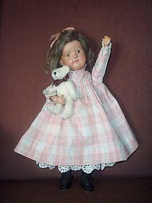 "Charming 15"" Schoenhut Dolly Face, Orig. Wig, Dress (item #1272640) #dollshopsunited"