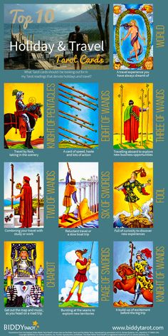 When these Tarot cards appear in your spread, they indicate travel for work, pleasure or both. Perhaps even a holiday.