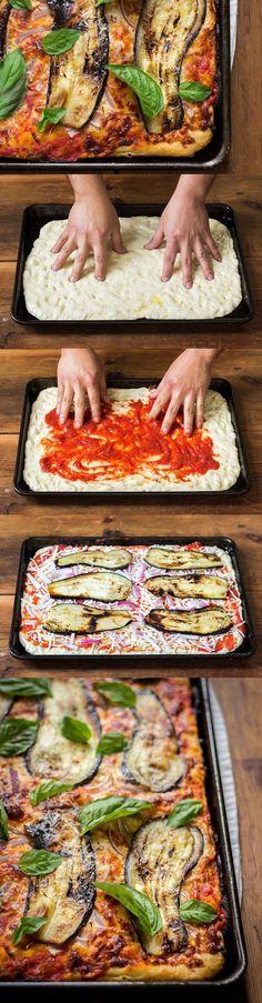 Sicilian Pizza with Eggplant - a classic Sicilian-style pan pizza with seared eggplant, red onions, and basil #pizzaweek #EggplantPizzaRecipe