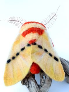 Needle Felted Moth Large Moth Sculpture by YvonnesWorkshop on Etsy