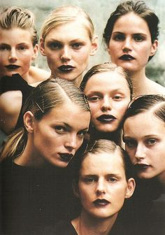 Missy Rayder, Esther Canadas, Stella Tennant, Natalia Semanova, and others photographed by Peter Lindbergh for Vogue Italia January Peter Lindbergh, Karen Elson, Beauty Box, Hair Beauty, Stella Tennant, Black Lipstick, Matte Lipstick, Corte Y Color, Braut Make-up