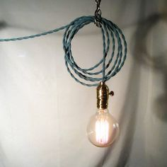 Soft Teil Hanging Lamp  Exposed Edison Bulb by Chancestore on Etsy, $69.00