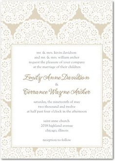 Doily wedding invitations -- part letterpress part digital. By Delphine for Wedding Paper Divas