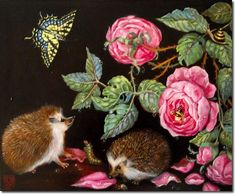 Palmer-Studios.com Hedgehogs and Roses