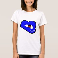 Sharnia's Lips Germany T-Shirt (Blue Lips). Available in different styles & colours!