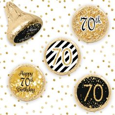 Happy Birthday Party Favors - Black and Gold Birthday Stickers for Kiss Candy - Birthday Party Decoration - 324 Count 80th Birthday Party Favors, 50th Birthday Party Decorations, Birthday Candy, 70th Birthday, Table Decorations, Birthday Ideas, Happy Birthday, Happy 30th, Gold Birthday