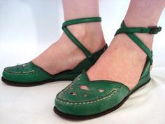 Green moccasins with ankle straps.. cute!!