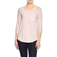 Gap Factory Raglan Long Sleeve Pocket Tee ($20) ❤ liked on Polyvore featuring tops, t-shirts, pink cameo, regular, long tee, pocket t shirts, long sleeve tee, raglan tee and raglan t shirt