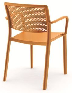 """Dd Trama Armchair, Set of 4 Dd colors: Orange by Dd Resol. $795.00. Made of high tech resin (polypropylene). Made in Spain. Weight 10 lbs per chair. 31.5""""H x 21.26""""L x 22.44""""W. Height of the arm on the chair is just under 26 inches. Trama Armchair Dimensions  Armchair Specifications  Suitable for outdoor use Fade resistant UV protection Stackable for easy storage Available in colors: orange, chocolate, black and green Sold in sets of 4 View additional Trama chair technical spe..."""