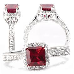 18k Chatham lab-grown 5.5mm princess cut ruby engagement ring with natural diamond halo