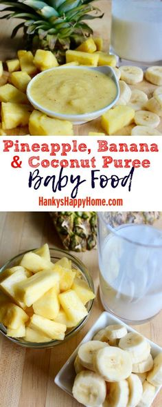 This quick and easy Pineapple, Banana & Coconut Puree tastes like summer and requires no cooking whatsoever. This quick and easy Pineapple, Banana & Coconut Puree tastes like summer and requires no cooking whatsoever. Baby Puree Recipes, Pureed Food Recipes, Baby Food Recipes, Healthy Recipes, Toddler Meals, Kids Meals, Toddler Food, Banana Baby Food, Healthy Baby Food