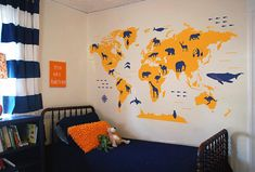 World map wall decal map with animals nursery orange wall decor child room decal kids room wall vinyl decal animal world map