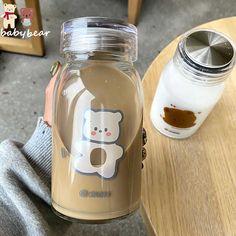 Cheap Water Bottles, Glass Water Bottle, Glass Bottles, Gifts For Pet Lovers, Gift For Lover, Bebidas Do Starbucks, Think Food, Coffee Tumbler, Bear Cartoon