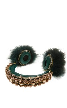 Shop Green Embroidered Nappa Leather Headphones With Fox Fur Trim. These padded headphones by **Dolce & Gabbana** are rendered in nappa leather embellished with Swarovski crystals, pearls and fox fur. Crown Headphones, Fall Accessories, Italian Fashion, Fashion Labels, Fox Fur, Fur Trim, Fashion Brand, Swarovski Crystals, Jewels