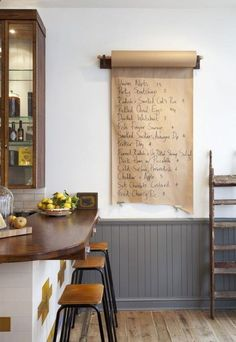 idea for butcher paper roll mounted near/on kitchen tile wall. daily menu? old ones could be recycled on a special table the next day.