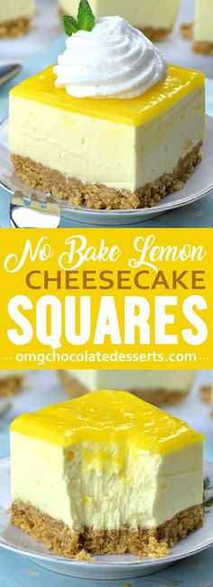 Easy No Bake Lemon Cheesecake Bars with graham cracker crust and lemon curd topping is light and refreshing spring or summer dessert recipe, and perfect addition to Easter table. #lemon #lemoncake #cheesecake #nobakecheesecake  #lemonbars