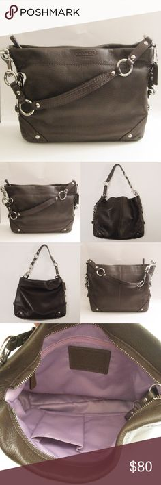 """Coach Carly Brown Leather Hobo Bag Authentic COACH F1073-F15251 Carly Brown Pebbled Leather Shoulder Purse Bag. Excellent used condition! No dust bag but will provide a generic one. Silver hardware with purple satin lining. Please see photos carefully before buying. You will get exactly as pictured. Dimensions: 9""""H x 12""""W x 3.5"""" D ⚜❌SWAP❌TRADE ⚜✔BUNDLES📦 ⚜✔Smoke-free/Pet-free home Coach Bags Hobos"""