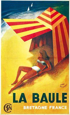 La Baule Bretagne (France) Vintage travel beach poster by BAYHOURST ANDRE ca 1930 #essenzadiriviera www.varaldocosmetica.it/en