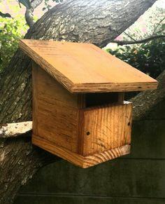 Bird nesting box from waste wood.