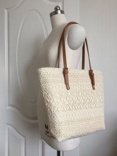 Make to Order: Originally Designed and Handmade Unique Chic Vintage Off White Cotton Lace Tote L067