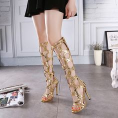 Plain Chunky High Heeled Round Toe Date Outdoor Knee High High Heels Boots - Mixed Shop Bohemian Sandals, Lace Up Sandals, Bare Foot Sandals, Chunky High Heels, High Heel Boots, Heeled Boots, Sexy Heels, Stiletto Heels, Golden Sandals