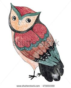 Watercolor funny kids illustration with owl. Hand drawn animal drawing. Owl bird…