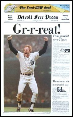 Kirk Gibson and the Tigers win the World Series in Front page of the Detroit Free Press. Espn Baseball, Detroit Tigers Baseball, Baseball Players, Baseball Field, Baseball Season, Pittsburgh Steelers, Dallas Cowboys, Baseball Cards, Detroit Art