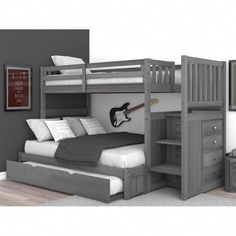 Sandberg bunk bed with trundle bed - bunk beds Bunk Beds For Boys Room, Bunk Bed Rooms, Bunk Bed With Trundle, Bunk Beds With Stairs, Kid Beds, Queen Bunk Beds, Full Size Bunk Beds, Boy Bunk Beds, Black Bunk Beds