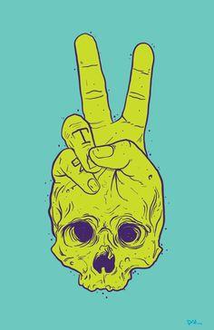 peace skull hand tattoo