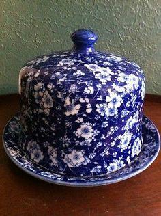 "Romantic Flow Blue Cheese Keeper Cobalt Blue Porcelain Floral 9"" Dome Lid Plate"