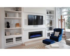 Modern fireplace ideas with tv modern fireplace design with fireplace built into a custom entertainment center Wall Units With Fireplace, Built In Around Fireplace, Fireplace Bookcase, Linear Fireplace, Wall Mount Electric Fireplace, Fireplace Built Ins, Home Fireplace, Fireplace Remodel, Modern Fireplace