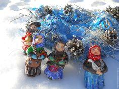 """Купить """"Деревенька моя!)""""(игрушка для елки) - деревня, елочная игрушка, дед, петух, бабка, самовар"""