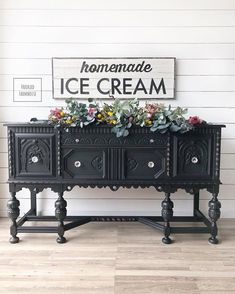 Stunning buffet in General Finishes Lamp Black Milk Paint Black Painted Furniture, Paint Furniture, Rustic Furniture, Furniture Makeover, Cool Furniture, Furniture Design, Dresser Makeovers, Sideboard Furniture, Furniture Buyers