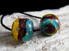 Handmade Lampwork Beads -Organic Nugget  Earring Pairs ~ Wagon Trail ~Boho-Lampies by ShimmerBeadsDesign on Etsy https://www.etsy.com/listing/526139183/handmade-lampwork-beads-organic-nugget